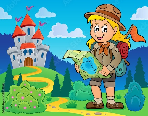 Poster Castle Scout girl theme image 7