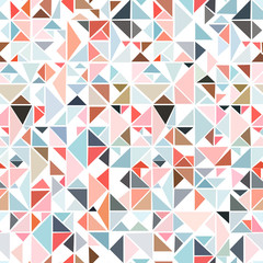Panel SzklanySeamless geometric pattern from triangles of different colors on a white background.