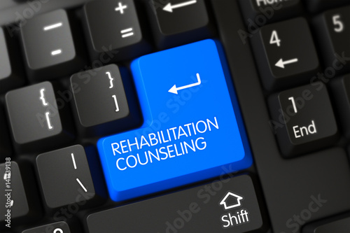 Keyboard with Blue Key - Rehabilitation Counseling. 3d. – kaufen Sie ...