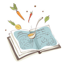 Magic Cookbook / Vector Illustration, Recipe For Soup With Vegetables
