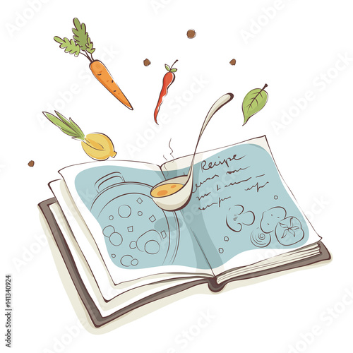 Fototapeta Magic Cookbook / Vector illustration, recipe for soup with vegetables obraz