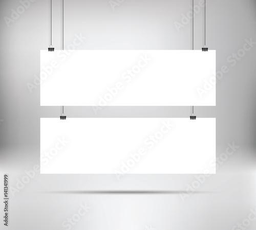 white poster mock up template hanging on binder two horizontal