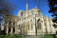 Rear View Of Peterborough Cathedral, UK.