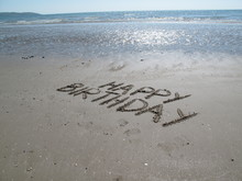 Happy Birthday Scripted In Coast Sand