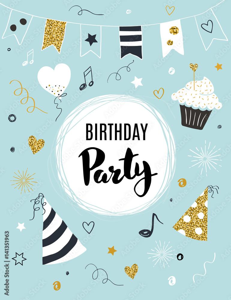 Birthday Party Invitation Template Vector Illustration Foto Poster