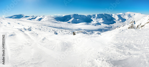 Panorama of white winter mountains #141355162