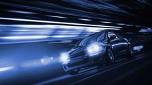 Schnelles Auto Bei Nacht In Ei...