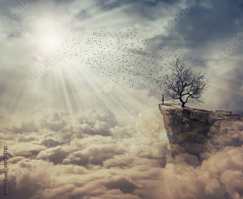 Young man standing on the peak of a cliff over clouds watching at a flock of birds flying from a strange, bare tree. The tree of death symbol, journey and discover.