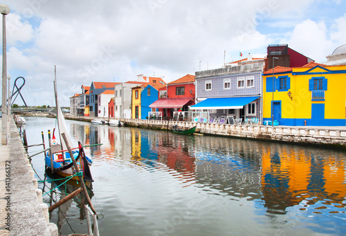 Moliceiro boats docked along central canal in Aveiro, Portugal Tapéta, Fotótapéta