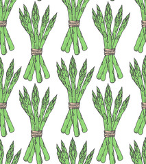 FototapetaSeamless pattern with sketch style asparagus bunch. Tile vegetarian background