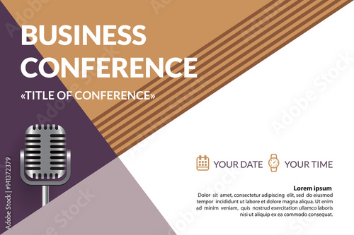 Business conference invitation concept colorful simple geometric business conference invitation concept colorful simple geometric background retro microphone template for banner stopboris Images