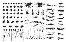 Vector Set Of Ink Splashes Blots Splatter Collection Grunge Design Element And Art Messy Backdrop Color Dirty Liquid Shape Spatter Black White Silhouette Illustration