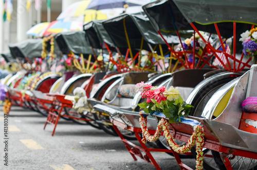 Vintage Trishaw stop beside road for service traveller Tapéta, Fotótapéta