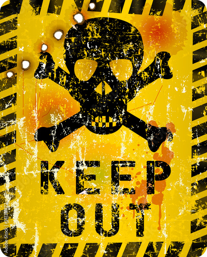 grungy keep out sign with skull and bullet holes, vector illustration Wallpaper Mural
