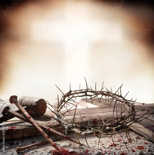Crucifixion Of Jesus Christ - Cross With Hammer Bloody Nails And Crown Of Thorns