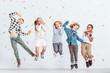 Leinwanddruck Bild - Happy kids jumping