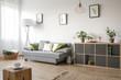 Leinwanddruck Bild - Cozy living room with sofa