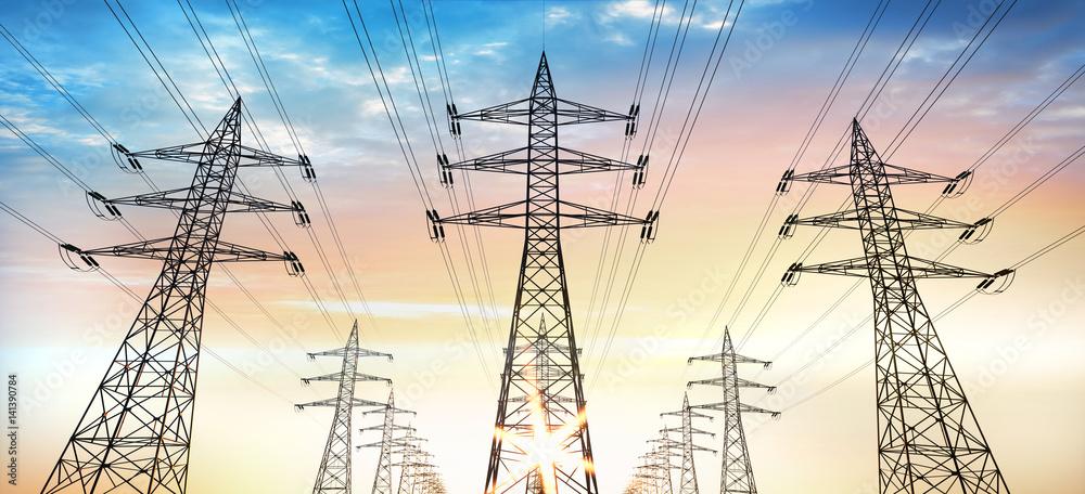 Fototapeta Stromtrasse - Stromleitungen im Abendhimmel