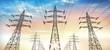 Leinwandbild Motiv Stromtrasse - Stromleitungen im Abendhimmel