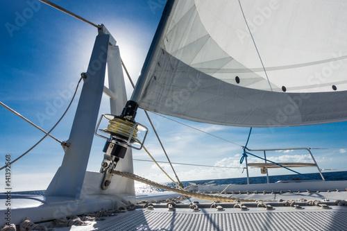 Poster Zeilen Sailing yacht catamaran sailing in the sea. Sailboat. Sailing.