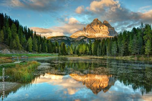 Fotobehang Natuur Park Lago Antorno, Dolomites, Lake mountain landcape with Alps peak reflection