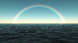 Fototapeta Tęcza - Colorful rainbow over the sea in the afternoon