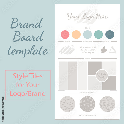 Fotografie, Obraz  Vector mood board logo template with universal color palette isolated on white background