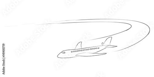 Fotografie, Obraz  Airplane with vapour trails