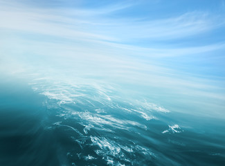 Sea Sky Abstract. An abstraction of ocean and sky with blurred camera motion.