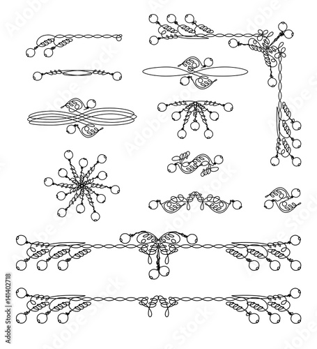 Vintage frame and scroll graphic elements set. Classical page ...