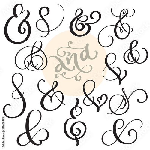 Photo vector set Vintage sign And Ampersand on white background