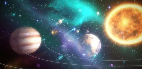 Fototapeta Composite image of solar system against white background 3d