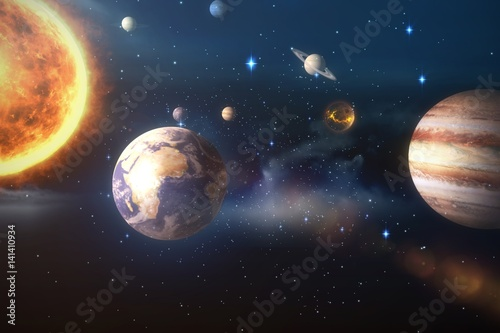 Composite image of solar system against white background 3d Fototapete