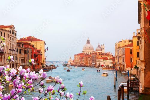 Foto op Plexiglas Venetie Basilica Santa Maria della Salute and Grand Canal at spring sunset, Venice, Italy