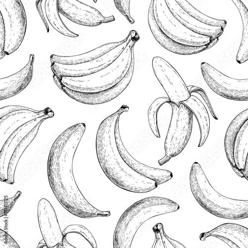 Fotografie, Obraz Banana vector seamless pattern