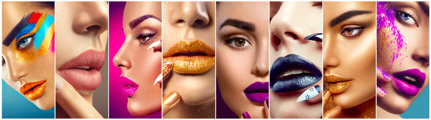 Panel Szklany Do Spa Makeup collage. Beauty makeup artist ideas. Colorful lips, eyes, eyeshadows and nail art
