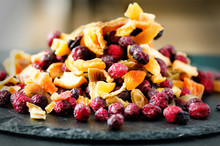 Sweet Mix Dried Fruits On Stone. Cranberry, Rhubarb, Apple, Mango, Cherry, Peach, Apricot. High Dose Vitamin C. Colorful Background