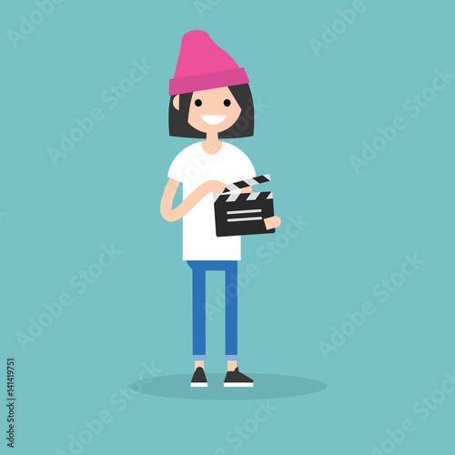 Fotografia, Obraz Camera crew: young assistant holding a clapperboard / editable flat vector carto