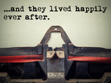Vintage typewriter they lived happily ever after text