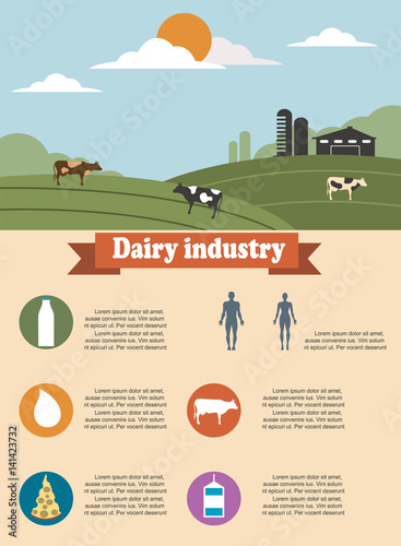 Agriculture infographics of dairy industry - Buy this stock vector