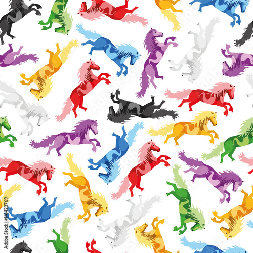 Poster Pony Illustration seamless Pattern Horse