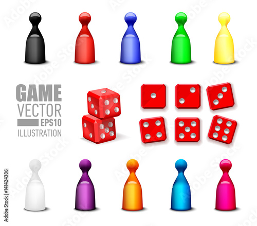 Fotografie, Obraz Different leisure game pawn figures and game blocks dices in variety number