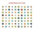 Christmas and holiday flat icon set