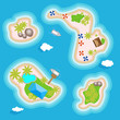 Tropical islands set top view above in the ocean or the sea. Vacation islands for holidays or weekends. Illustration in flat style.