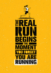 Fototapeta Napisy The Real Run Begins The Moment You Forget You Are Running. Sport Marathon Motivation Quote. Sport Concept