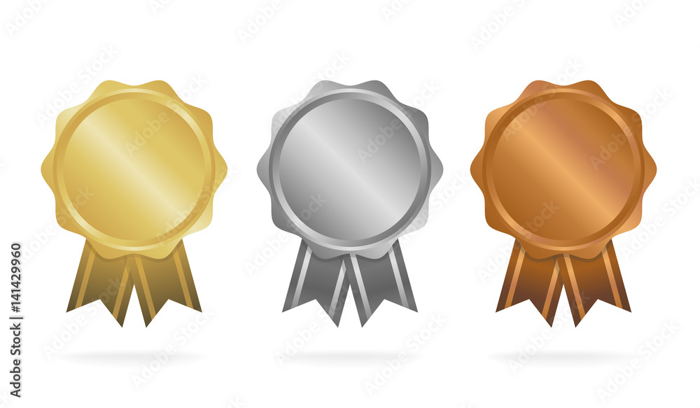Fototapeta First place. Second place. Third place. Award Medals Set isolated on white with ribbons and stars. Vector illustration