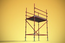 Composite Image Of 3d Image Of Red Scaffold Frame
