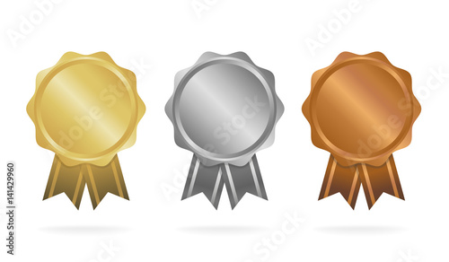 Obraz First place. Second place. Third place. Award Medals Set isolated on white with ribbons and stars. Vector illustration - fototapety do salonu
