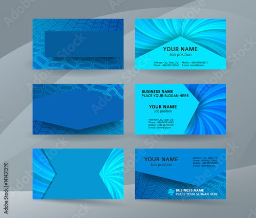 Business Card Background Blue Set Of Horizontal Templates08 Buy