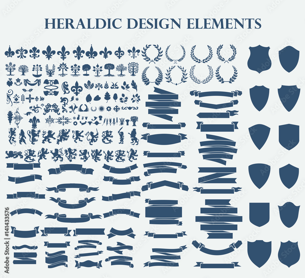 Fototapeta Heraldic Design Elements set bundle